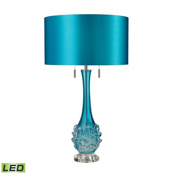 Vignola Free Blown Glass LED Table Lamp in Blue Blue