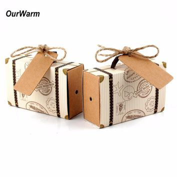 Ourwarm 10pcs Wedding Favor Chocolate Boxes Vintage Mini Suitcase Candy Box Sweet Bags for Wedding Favors and Gifts Decoration