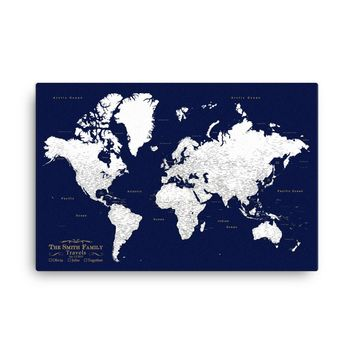 Pinnable World Map Travel Pin Board - Comes with 1,000 Pins!