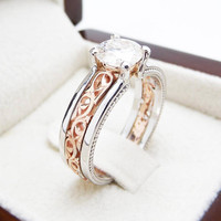 Special Reserved - 2 ct. Cushion Cut Morganite Two Tone Ring - 2nd payment
