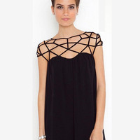 Black Strappy Grid Chiffon A-line Mini Dress