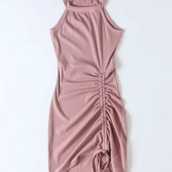 Sexy drawstring pleated dress