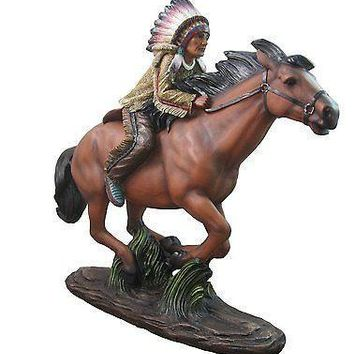 """""""Ride The Wind"""" Indian Riding Horse Figurine By DWK 
