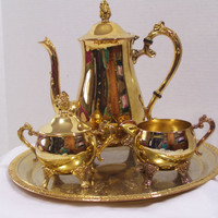 Vintage Gold Plated Metal Tea | Coffee Set 4 Piece Set