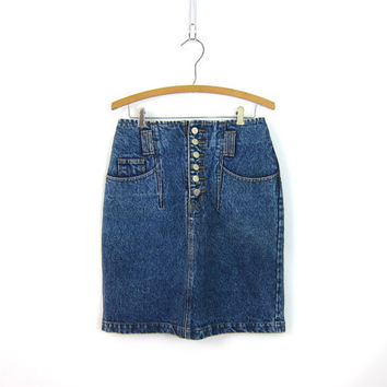 1980s Jean Skirt Acid Stone Wash High Waist Denim Mini Skirt Dark Denim BUTTON FLY Front Miniskirt Grunge Pencil Skirt Vintage 9 29 in waist