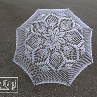 "48"" Snow WHITE with shiny silver edging Lace Crochet Flower UMBRELLA PARASOL Sunbrella, Summer Wedding, Party Favor- Ready to Ship"