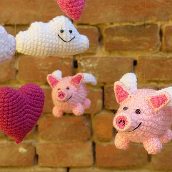 baby mobile with flying pigs / pink crochet baby mobile / crib mobile / nursery decor / kids room / pink white