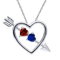 1.16 Ct Red Garnet Blue Simulated Sapphire 925 Silver Heart and Arrow Pendant