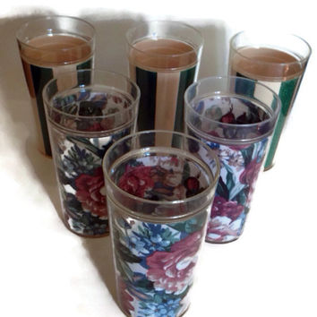 Vintage Insulated Tumblers, Large Plastic Drinking Glasses, Set of 6, Two Different Patterns, Burgandy and Green Flowers, Green Stripes