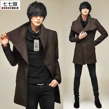 Men's Wool Jackets Spring Autumn Brand Men Woolen Coats Middle Long Jackets And Coats Mens Warm Wool Overcoat Size 2XL