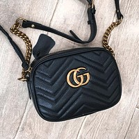 Gucci Fashion Double G Wave Camera Bag Single Shoulder Slant Bag Chain Bag #4