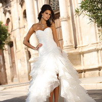 Sexy Organza Ruffles Split Wedding Dresses Sweetheart Pleats Beaded Bridal Gowns Lace Up Back Beach Wedding Gown