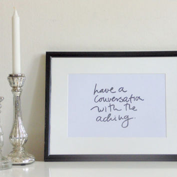 Have a conversation... - black on white - DIN A4 - Wall Art Print Quote handmade written - original by misssfaith