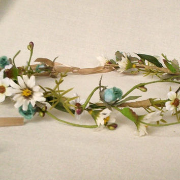 Bohemian Rhapsody bridal Floral Crown Daisy Hippie headwreath wedding accessories wild daisies Halo teal aqua flower wreath for hair garland