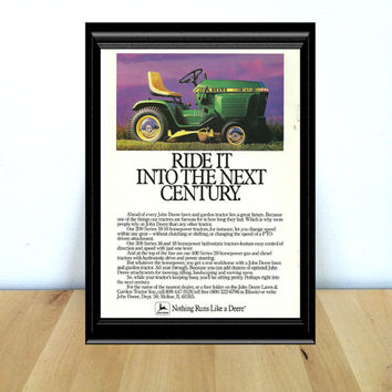 John Deere, Ride it Into the Next Century: Retro Farm & Garage Home Decor {1980s} Vintage Advertisement