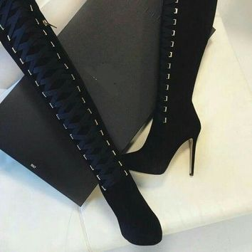 Lace Up Suede Pointed Toe Over Knee Black Boots