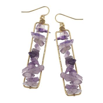 Worn Gold Wire Wrapped Chip Earring Amethyst