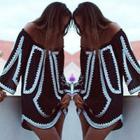 New Hot Sexy Style Retro Swimsuit Bikini Cover Up 2016 New sexy Women Long Sleeve Party Cocktail Summer Beach Bathing Suits