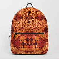 3-D Mosaic in Red and Orange Backpacks by Lyle Hatch