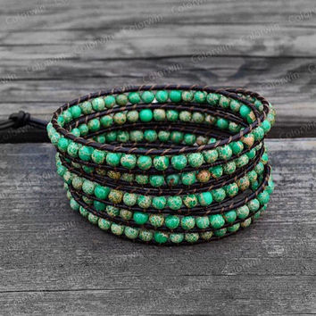 Mediterranean Green Leather Bracelet Emperor Stone Bracelet Wrap Bracelet Beaded Bracelet Leather Wrap Bracelet with Black Leather Cord