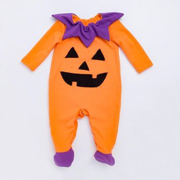 YK&Loving Baby Halloween Cosplay Costumes Boy Girl Pumpkin Halloween Party Children Clothes Warm Autumn Long Sleeve Bodysuits