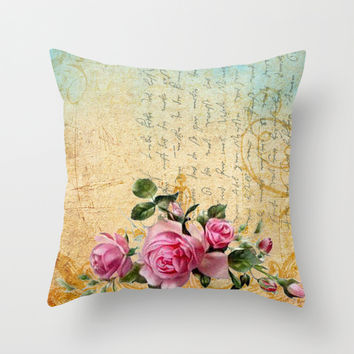 Vintage Roses #6 - Pretty Beautiful Flowers Floral Throw Pillow by Juliana RW