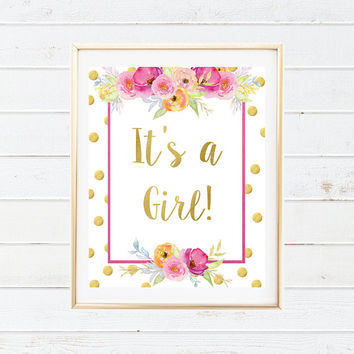 Its a Girl Party Printable Art - Gender Reveal Floral Party Decorations - Baby Shower Party - Watercolor Flowers - Baby Shower Printable Art