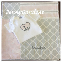Baby Blanket ~ Personalized Girl Baby Blanket ~ Pink and Grey Baby Blanket ~ Baby Girl Blanket ~ Matching One-piece