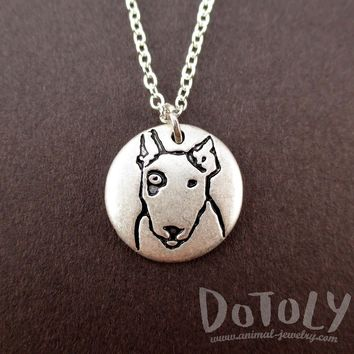 Round Engraved Bull Terrier Dog Portrait Pendant Necklace | Animal Jewelry