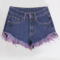 Dark Blue Tassel Denim Shorts