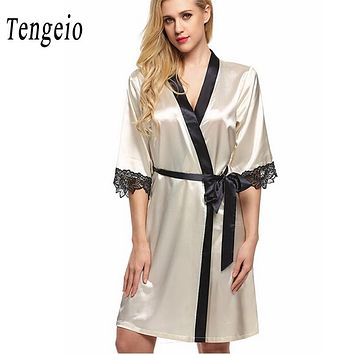 Tengeio Women Nightdress Sexy Sleepwear Nightwear Lace Mini bridesmaid robes satin nightgown Night Dress chemise de nuit Nuisett