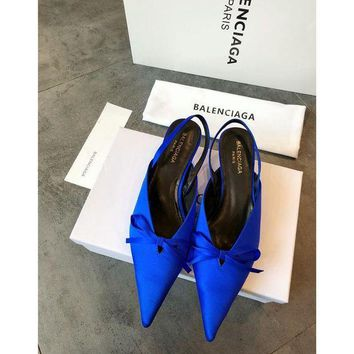 PEAP2Q Balenciaga Knife Mules Royal Blue Pointed Toe Satin Mule With Kitten Heel
