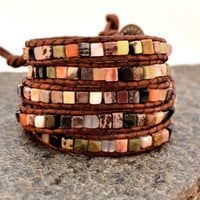 Organic beaded leather bracelet -Chan Luu inspired five wrap bracelet - Semi precious cubes on leather