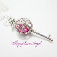 Key Locket Necklace Filigree Tree Locket Holds Pearls You Choose Color Silver Key Jewelry