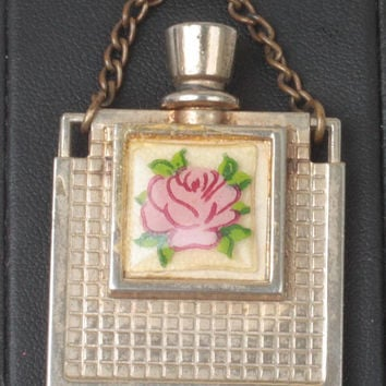 Miniature Perfume Flask Pink Rose Decoration Gold Tone Metal Vintage