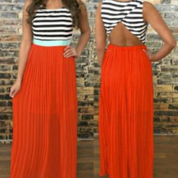 Orange Sleeveless Cut Out Backless Striped Dress