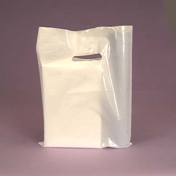 WHITE 100pk Premium Glossy Plastic Merchandise Party Gift Favor bags