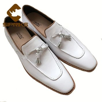 Sipriks Luxury Mens Bespoke Goodyear Shoes Slipon Dress Shoes Italian Male White With Tassel Loafers Shoes Mens Designer Loafers