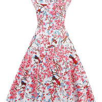 Pink Blossom Print Fit And Flare Dress