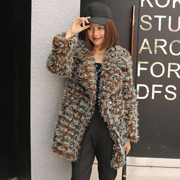 Fur Vest New Arrival 2017 Winter New Woman Imitation Coat In The Long Section Of Leisure Lapel Lambs Hair Plush Hit Color Girl