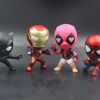 Marvel Avengers Spiderman Ironman Black Panther Deadpool Cute Kawaii Model Figure Toys