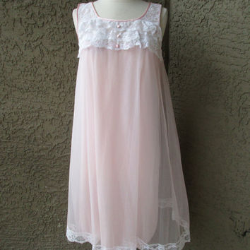 60s NOS Pink Chiffon Nightie White Lace Trim by Val Mode Lingerie w/ Tag Sz Sm