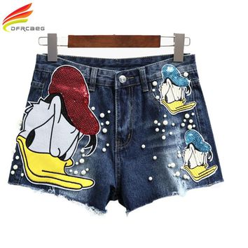 New Summer 2017 Fashion Short Female Jeans Shorts Women Casual Blue Sequin Cartoon Denim Shorts Kawaii Beading High Waist Shorts