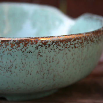 Vintage California Pottery, Cal Original Mint and Gold Serving Bowl or Jewelry Dish - Made in USA