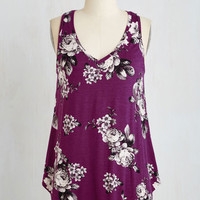Mid-length Sleeveless Infinite Options Top in Plum