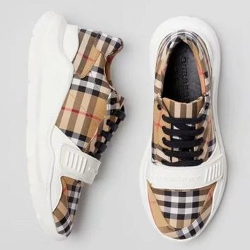 Burberry return to the ancients Lattice Gym shoes