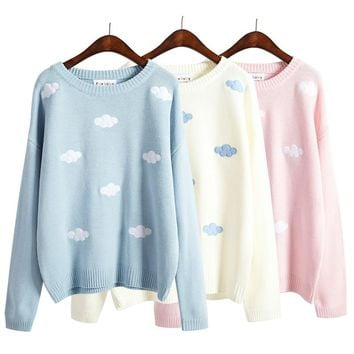 2018 women sweaters and pullovers korean new winter style coats kawaii harajuku cute 3D clouds pullover oversized sweater women