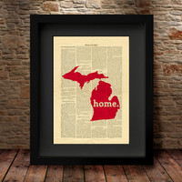 Michigan, Michigan State, Michigan State Map, Art Print, Dictionary Print, Home Decor, Wall Decor, Art Print, Dictionary State Print -27MI