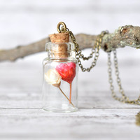 Miniature Bottle Pendant with Tiny Red and White Dried Wildflowers - Resin Jewelry - Tiny Bottle Necklace - Terrarium Necklace