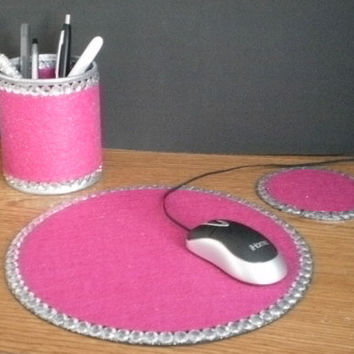 PINK & BLING Computer Desk Set - Fuschia pink w/clear rhinestones